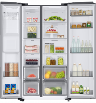 RS8000 8 Series American Style Fridge Freezer with SpaceMax™ Technology 609 L Silver (front-open-with-food Silver)
