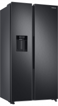 RS8000 8 Series American Style Fridge Freezer with SpaceMax™ Technology and Wine Shelf Black 609 L (l-perspective Black)